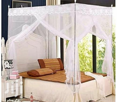 4*6 Flat Mosquito Net With 4 Metallic Stands - White