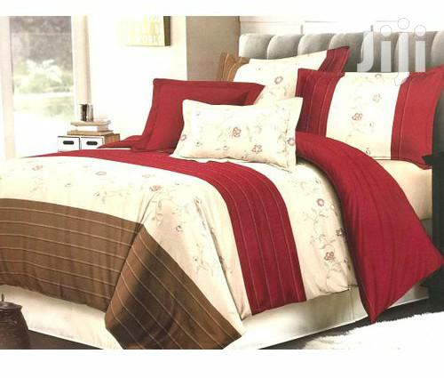 6*6 Bed Duvet With One Bed Sheet & Two Pillowcases - Maroon,Brown