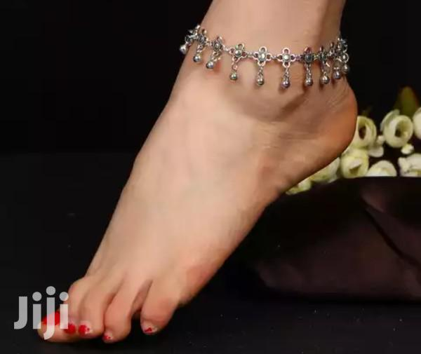 Archive: Bollywood Heavy Stainless Steel Vintage Floral Anklets With Bells