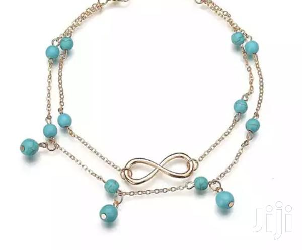 Archive: Infinity Double Layered Anklet With Green Pearls (Stainless Steel)