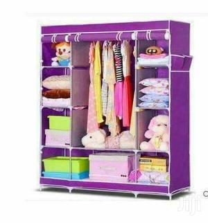 3 Column Cloth Wooden Frame Portable Wardrobe - Purple | Furniture for sale in Central Region, Kampala