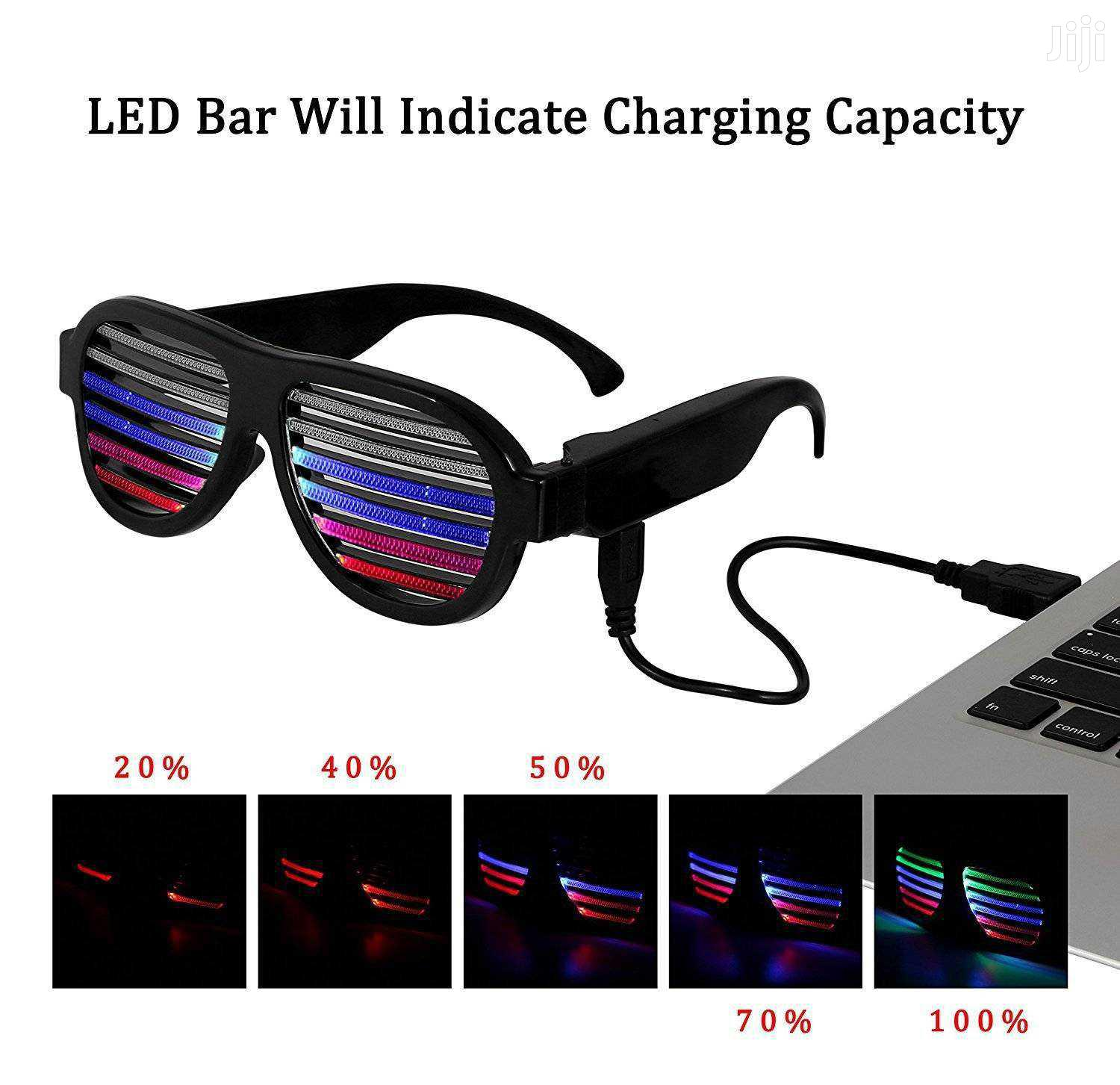 Led Rechargeable Sound Sensitive Glasses | Clothing Accessories for sale in Kampala, Central Region, Uganda