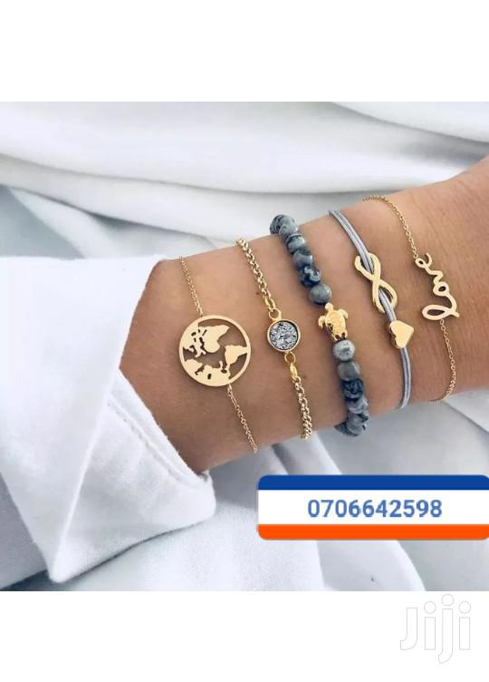 5pcs Bracelet Chain Gold and Grey | Jewelry for sale in Kampala, Central Region, Uganda