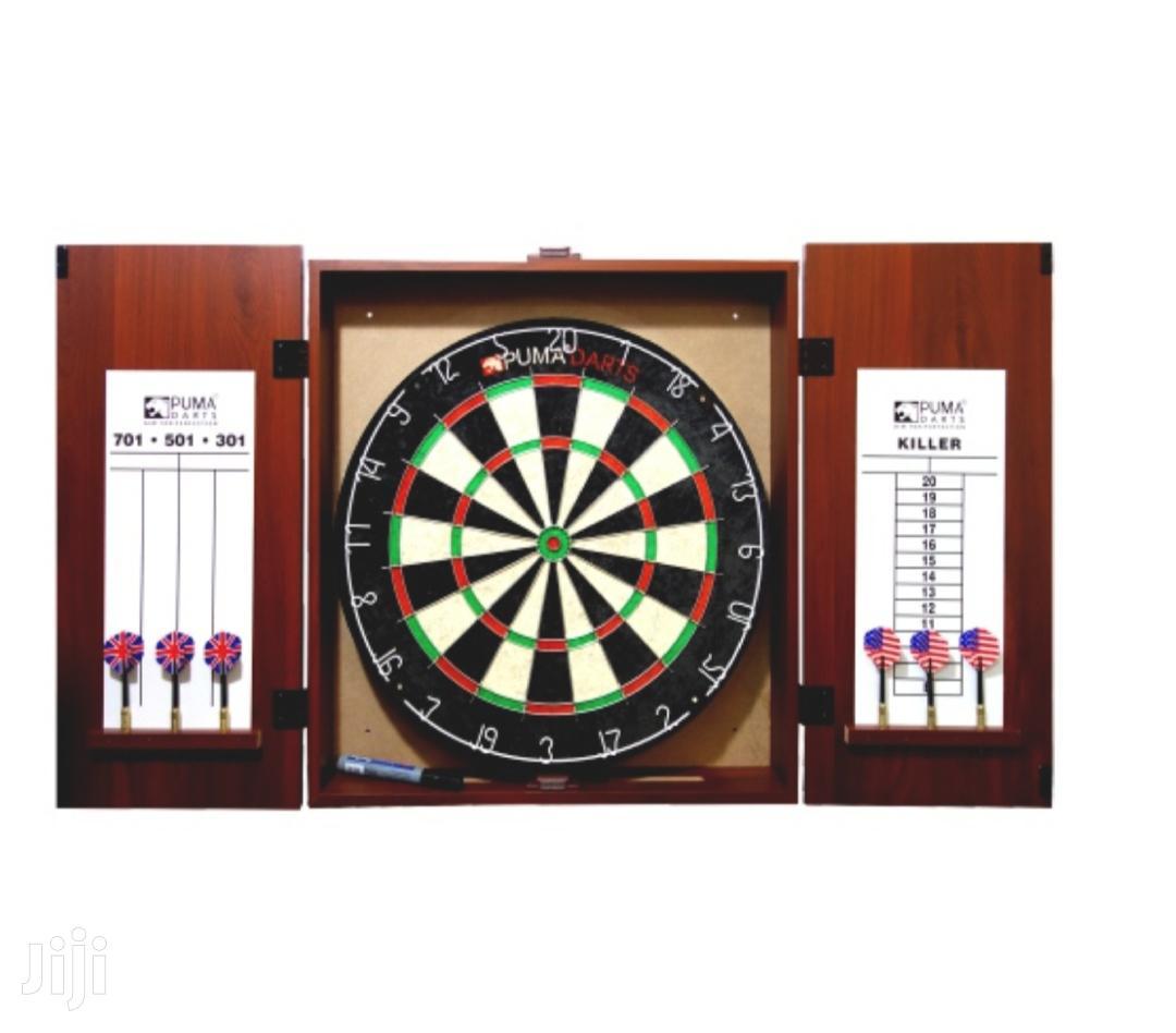 Original Puma Darts Stadium Bristle Dartboard Cabinet Set