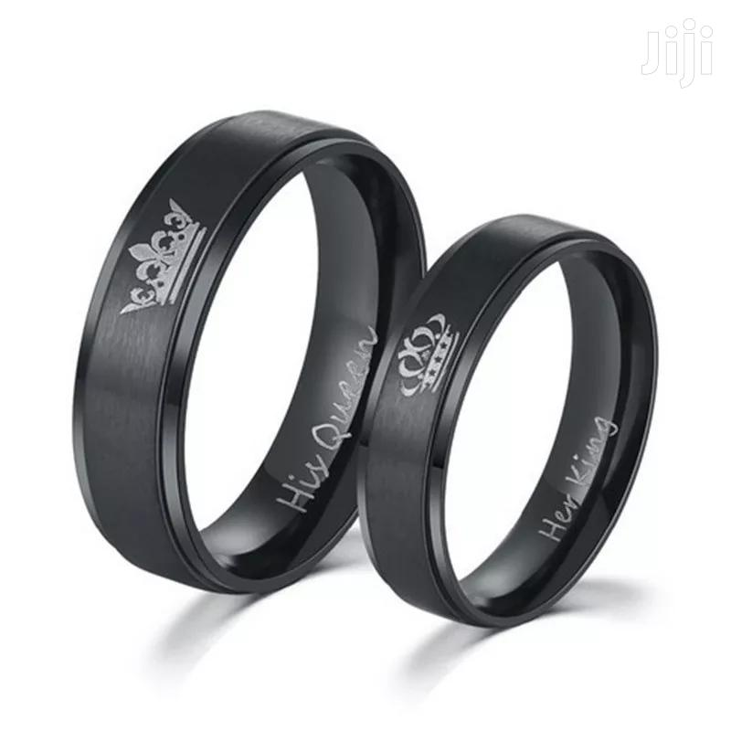 Unique Black Couple Stainless Steel Rings Her King His Queen | Jewelry for sale in Kampala, Central Region, Uganda