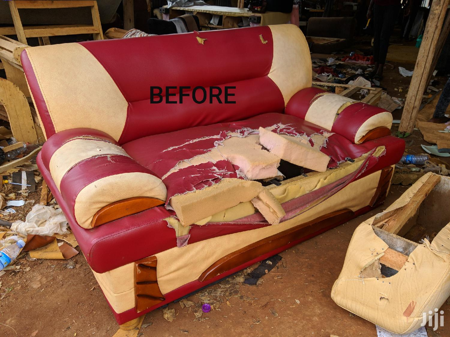 BEFORE and AFTER SOFA Repairing Svc