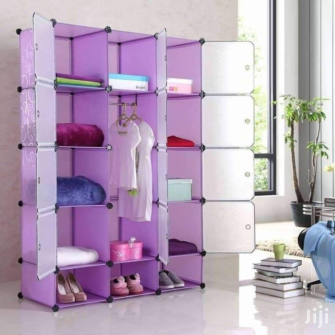 2in1 Elegant Plastic Wardrobe and Shoerack (15 Cubicals)