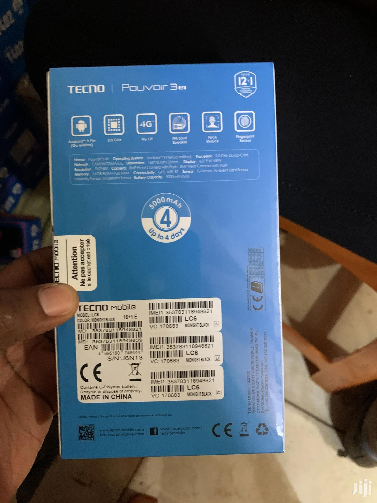 New Tecno Pouvoir 3 Air 16 GB Black | Mobile Phones for sale in Kampala, Central Region, Uganda