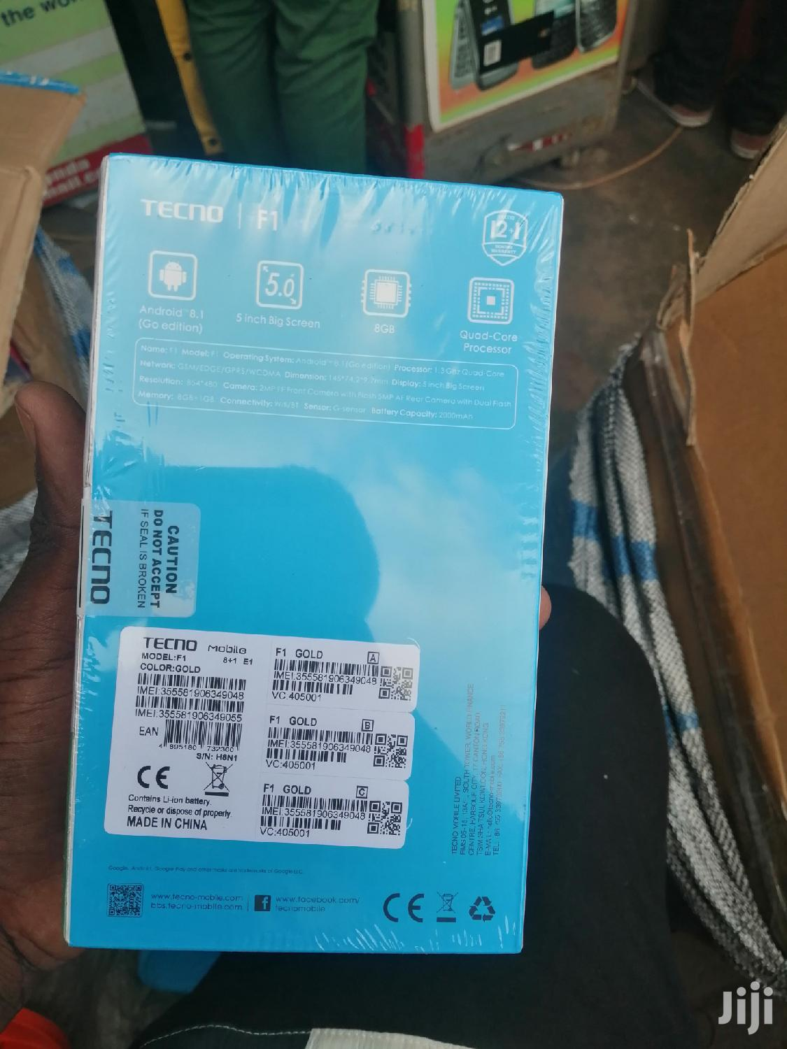 New Tecno F1 8 GB Gold | Mobile Phones for sale in Kampala, Central Region, Uganda