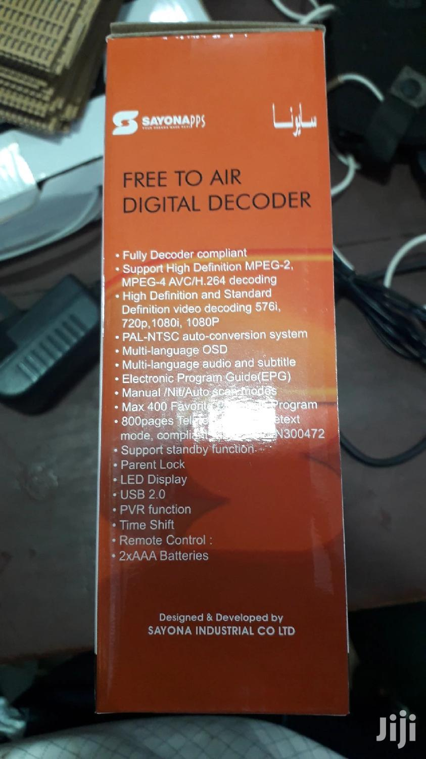 Sayona Free To Air Decoder | TV & DVD Equipment for sale in Kampala, Central Region, Uganda