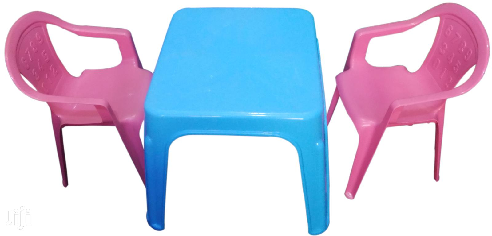 Kindergarten Table With 2 Chairs-blue& Pink