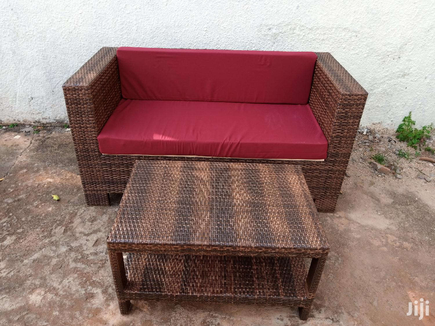 Two Seater With Cushion and Atable in Plastic Lato Strips