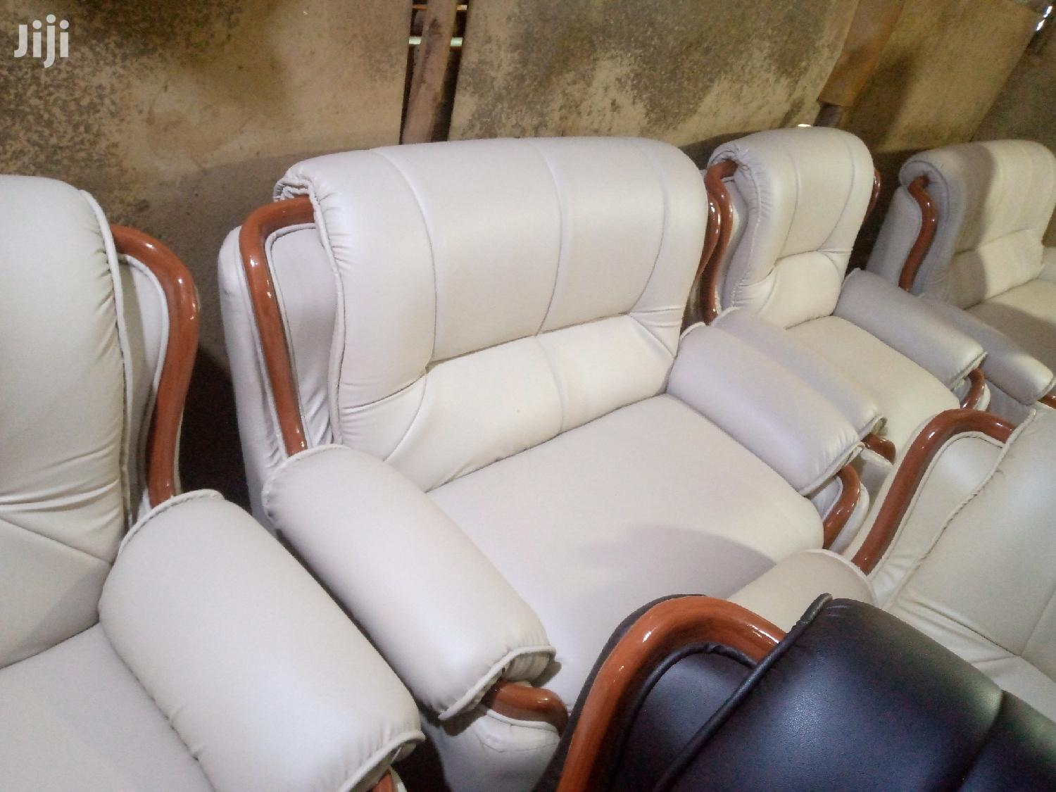 Archive: A Five Seater Leather Comfortable Sofa Set