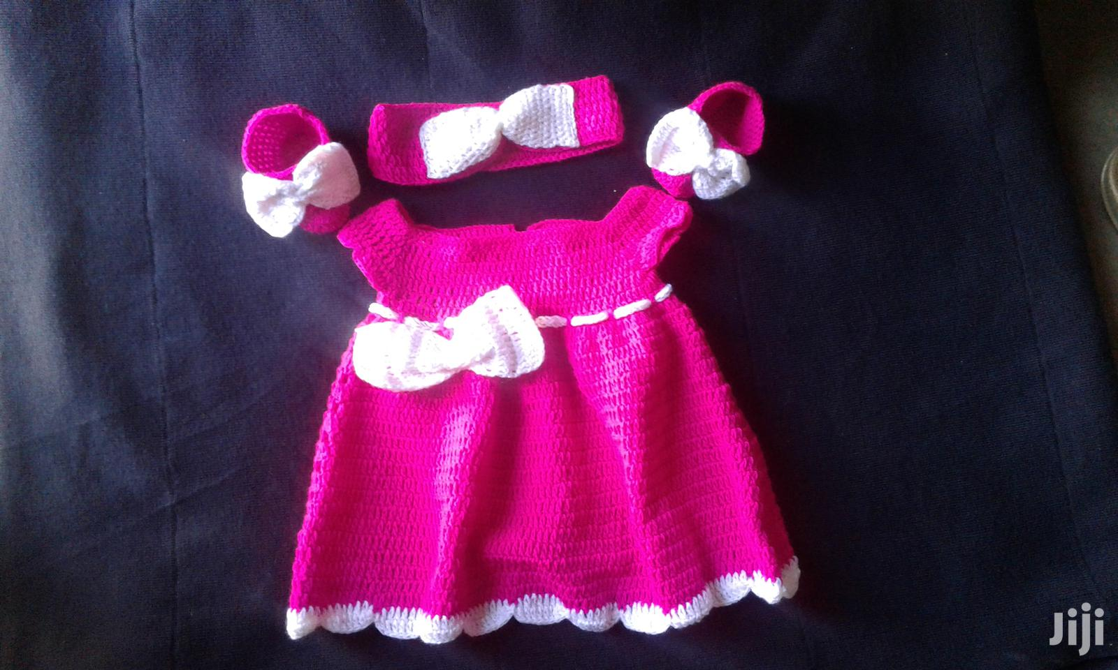 Baby Girl Crochet Gift Piece; Dress, Headband and Booties.