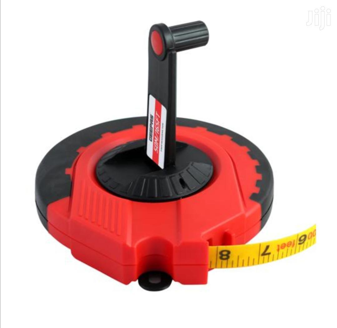 Geepas Strong Red & Black Fibre Measuring Tape 50meters