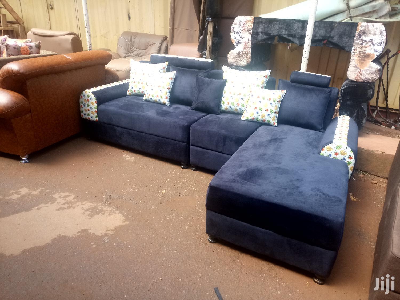Blue L Sofas
