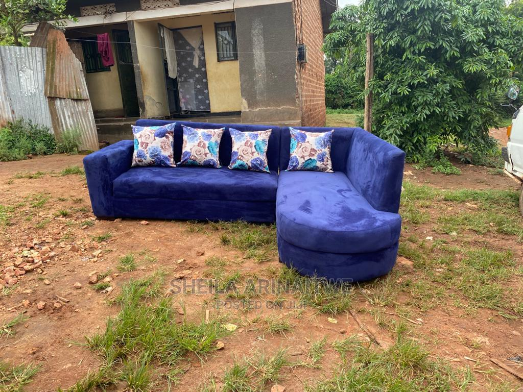 L Shape Sofas Blue With Flower Pillows | Furniture for sale in Kampala, Central Region, Uganda